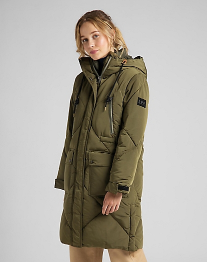 Elongated Puffer Jacket in Olive Green