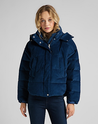 Puffer Jacket Corduroy in Washed Blue