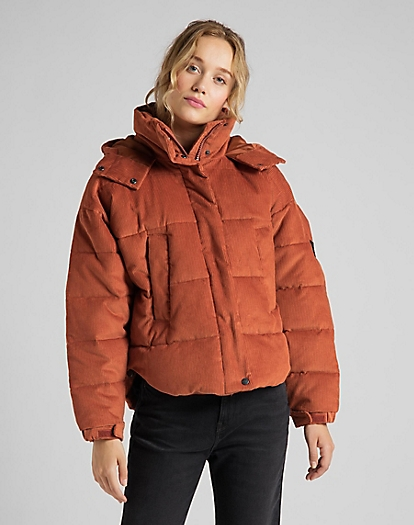 Puffer Jacket Corduroy in Burnt Ocra