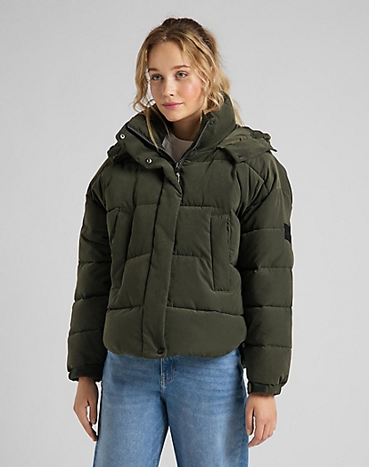 Puffer Jacket in Serpico Green