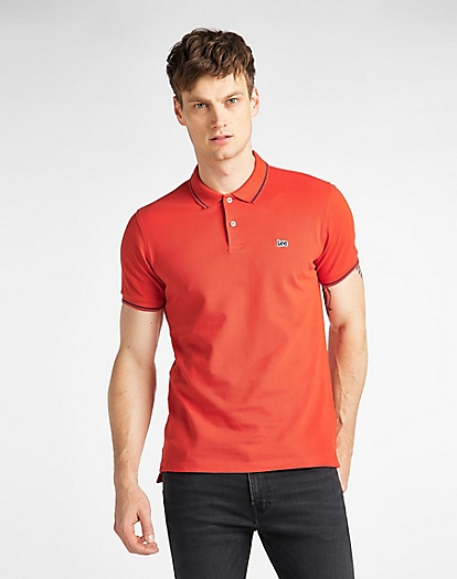 Pique Polo in Poppy Red