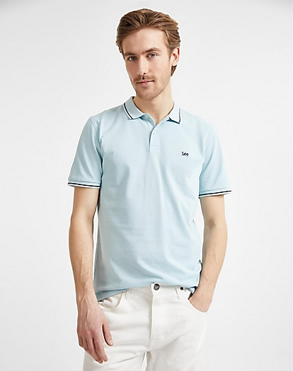 Pique Polo in Sterling Blue