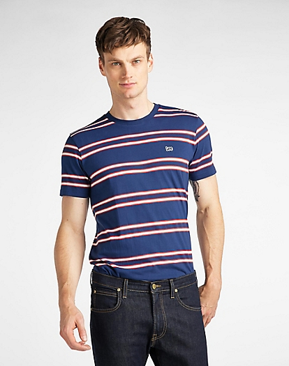 Basic Stripe Tee in Washed Blue