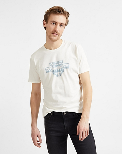 Seasonal Logo Tee in White Canvas