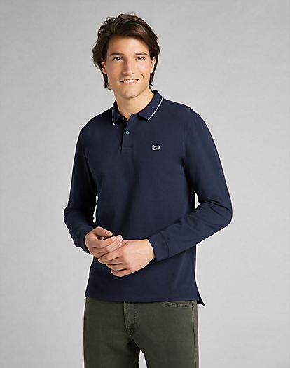 Long Sleeve Pique Polo in Navy