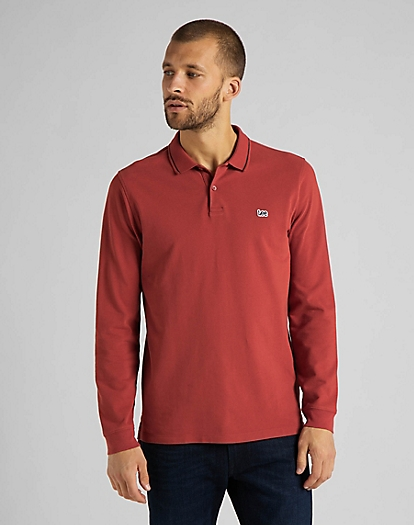Long Sleeve Pique Polo in Red Ochre