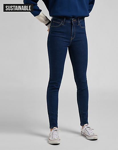 Lee Scarlett Ladies Stretch Jeans New Women Skinny Leg Blue Rinse One Wash Denim