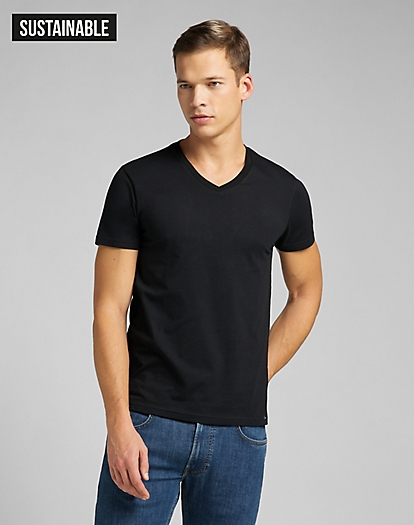 Twin Pack V Neck Tee in Black