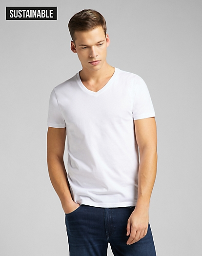 Twin Pack V Neck Tee in White