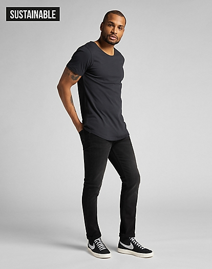 Shaped Tee in Washed Black