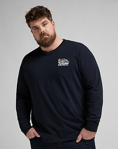 Long sleeve 70's Logo Tee in Sky Captain