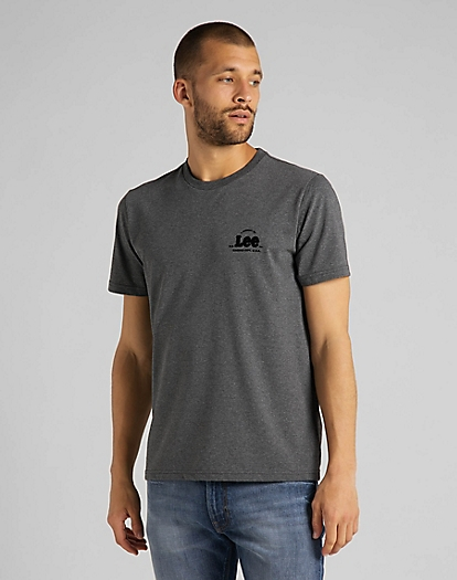 Tonal Flock Logo Tee in Dark Grey Mele