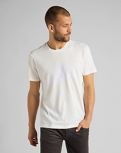 Tonal Graphic Tee in White Canvas