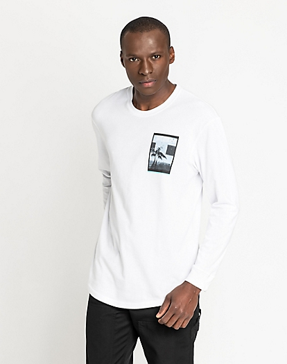 Long Sleeve Graphic Crew in Bright White