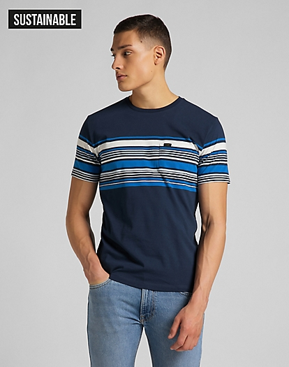 Stripy Pocket Tee in Navy