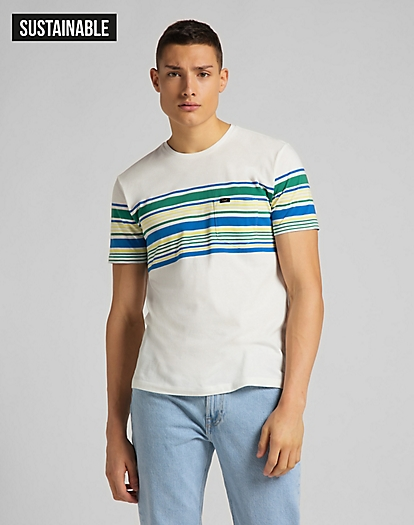 Stripy Pocket Tee in Ecru