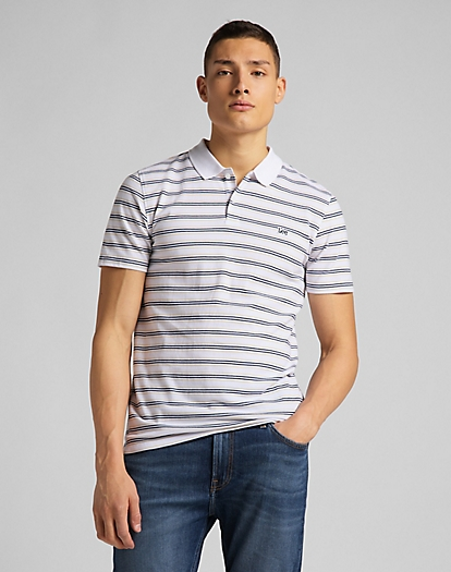 Stripy Polo in White