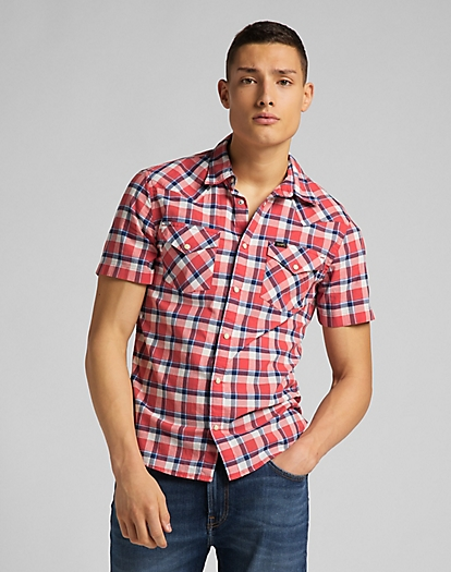 Short Sleeve Western Shirt in Aurora Red