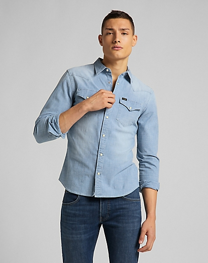 Western Shirt in Skyway Blue