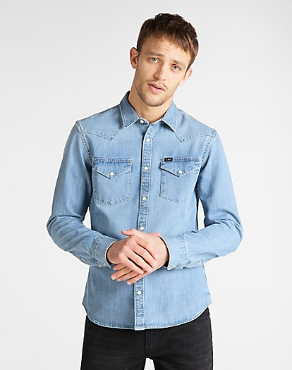 Western Shirt in Frost Blue