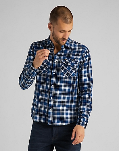 Western Shirt in Washed Blue