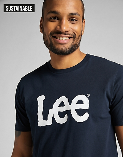 Wobbly Logo Tee in Navy Drop