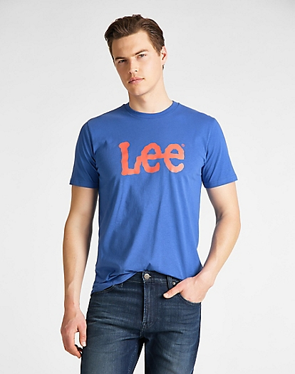 Wobbly Logo Tee in Summer Blue