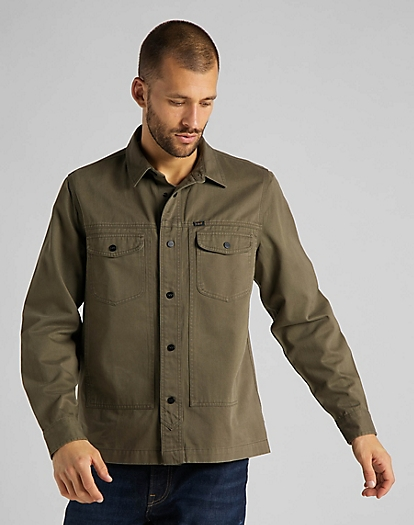 Military Worker Shirt in Olive Green