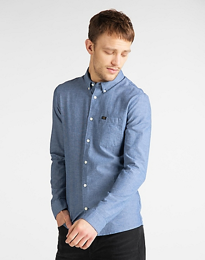 Slim Button Down Shirt in Washed Blue