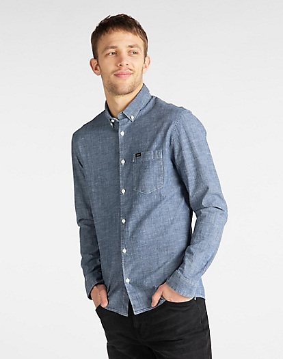 Slim Button Down Shirt in Sky Blue