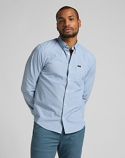 Slim Button Down Shirt in Piscine