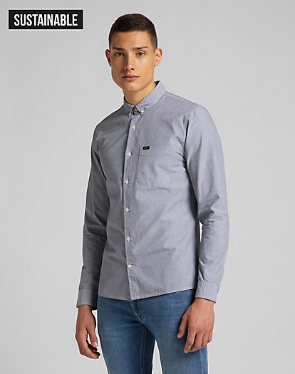 Slim Button Down Shirt in Cloudburst Grey