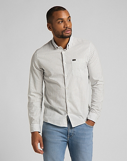 Slim Button Down Shirt in White Canvas