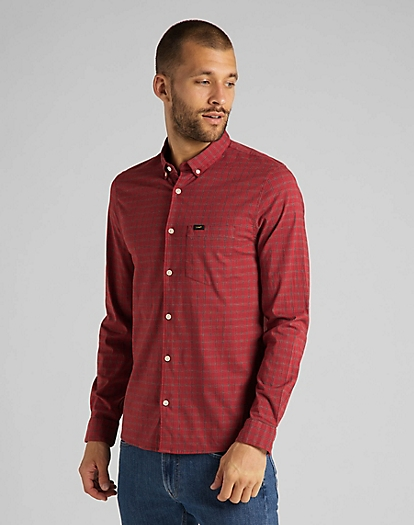 Slim Button Down Shirt in Red Ochre