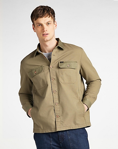 2 Pocket Overshirt in Utility Green