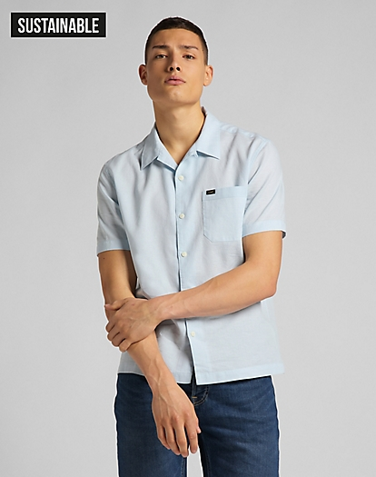 Short Sleeve Resort Shirt in Skyway Blue