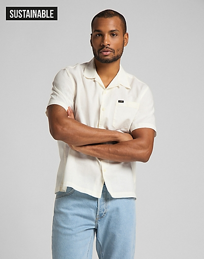 Short Sleeve Resort Shirt in White Canvas