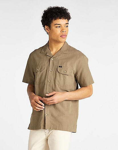 Short Sleeve Worker Shirt in Utility Green