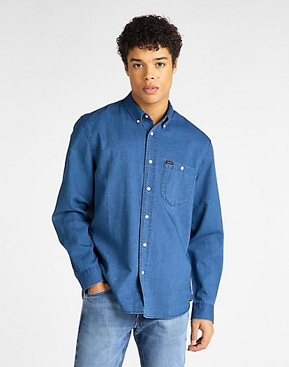 Refined Riveted Shirt in Washed Blue