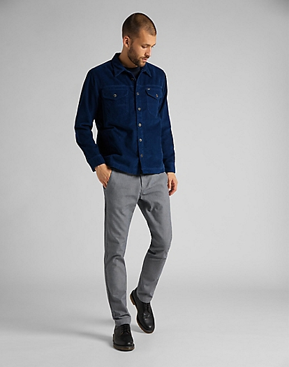 Loco Patch Overshirt Corduroy in Washed Blue