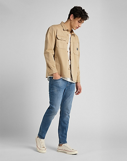 Box Pocket Overshirt in Service Sand