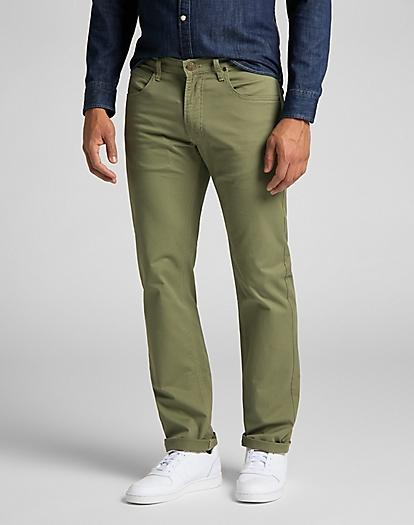 Daren Zip Fly Non Denim in Lichen Green