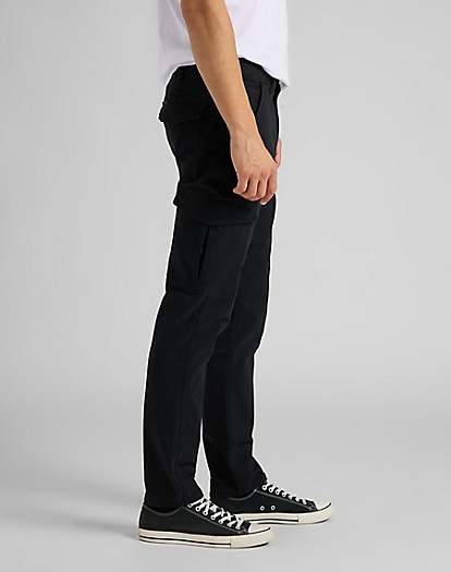 Tapered Cargo Trousers in Black