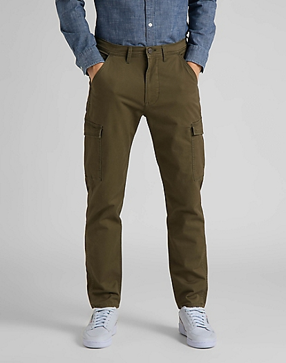 Tapered Cargo Trousers in Olive Green