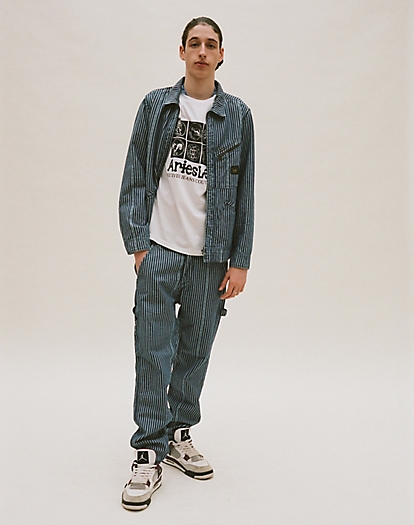 Carpenter Jean in Denim Workwear Stripe