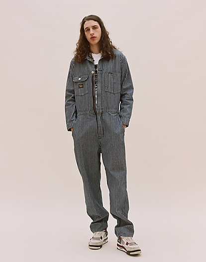 Whizzit Overall in Denim Workwear Stripe
