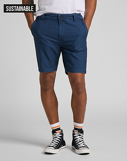 Chino Short in Thin Stripe Dk