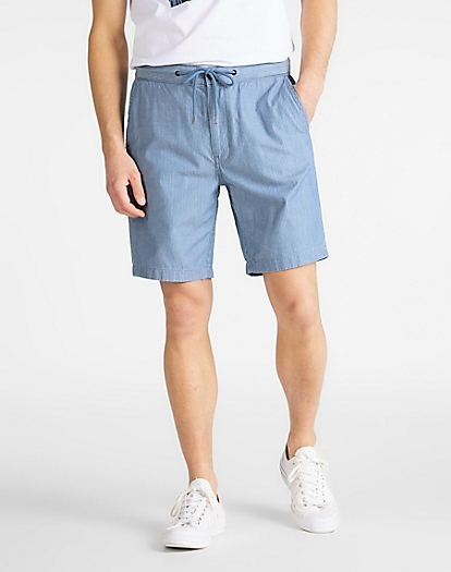 Drawstring Short in Washed Stripe