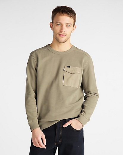 Military Pocket Sweatshirt in Utility Green