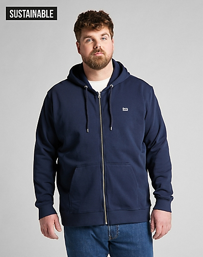 Basic Zip Through Hoodie in Navy